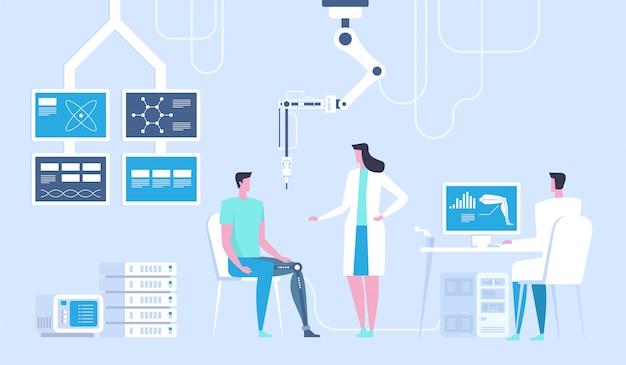 Laboratório de ciências. homem com perna biônica como prótese.