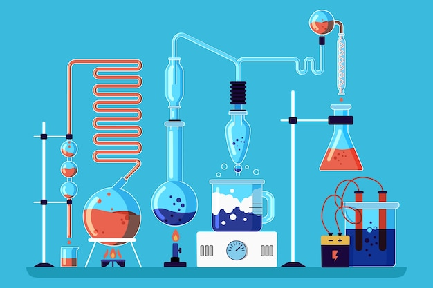 Laboratório de ciências na mão desenhada