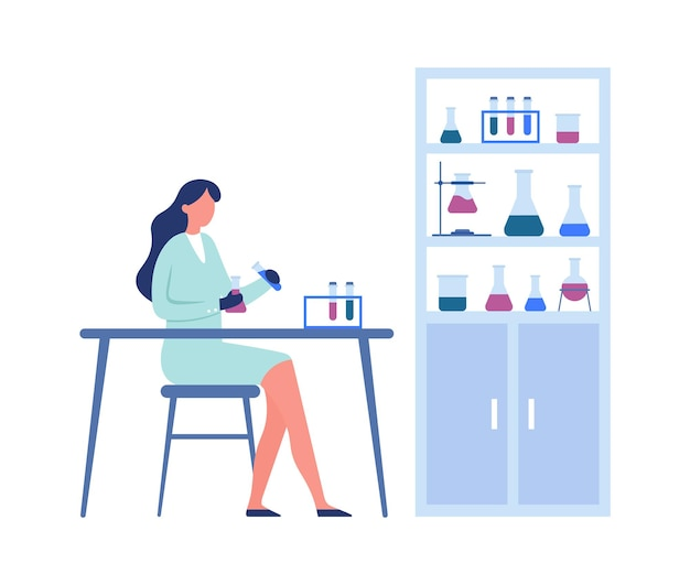 Laboratório de ciências. pesquisa científica profissional. mulher médica trabalhadora de uniforme segurando tubos e frascos e sentada à mesa, prateleiras com recipientes para ilustração vetorial de experimentos