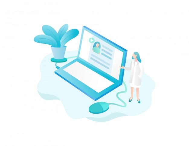 Laboratório de consulta de saúde com aplicativos para laptop