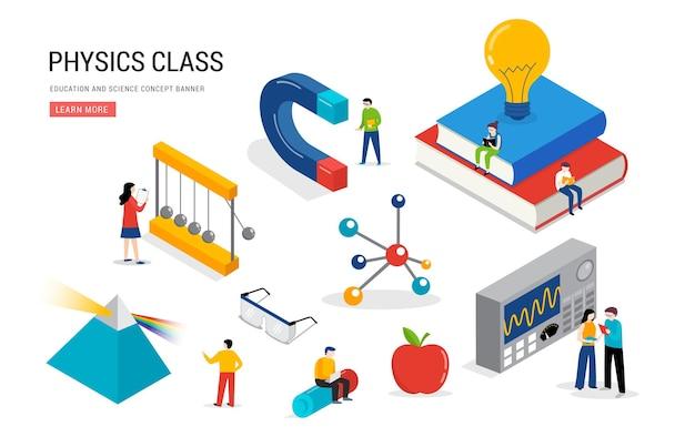 Laboratório de física e cena de educação científica em sala de aula com alunos em miniatura isométricos