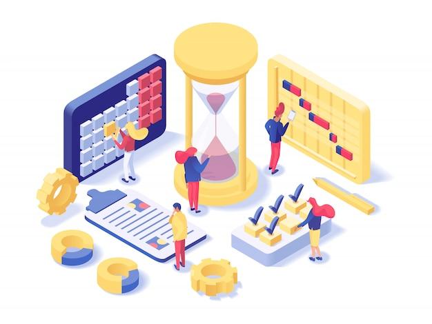 Laboratório de gerenciamento de projetos isométrico
