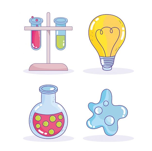 Laboratório de pesquisa científica ícones de átomo de tubo de ensaio de lâmpada