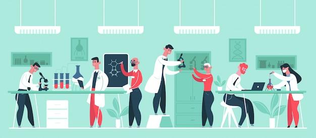 Laboratório de pesquisa científica. pesquisadores de cientista químico em jalecos, ilustração de experimentos de técnico de laboratório. cientista de pesquisa, laboratório químico, químico e médico