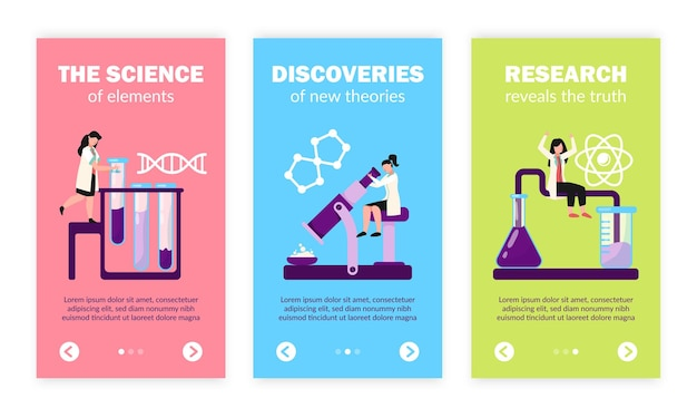 Laboratório de pesquisa científica testa descobertas símbolos de estrutura de molécula de dna de átomo, conjunto de banners verticais planos