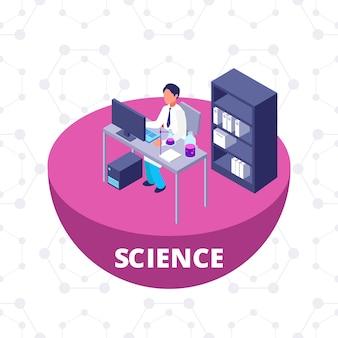 Laboratório de pesquisa isométrica 3d de ciência com equipamento de laboratório e ilustração vetorial de cientista
