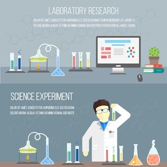 Laboratório de química, conceito de educação Vetor Premium