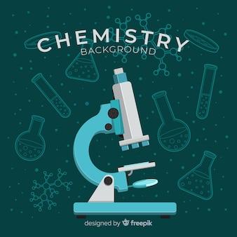 Laboratório de química plana com frascos