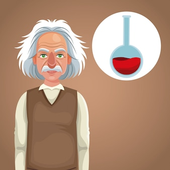 Laboratório de tubo de ensaio de pensamento físico cientista de caráter