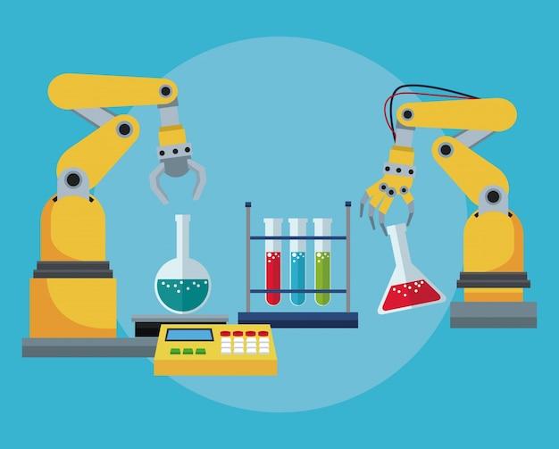 Laboratório de tubo de teste químico de braço robótico industrial