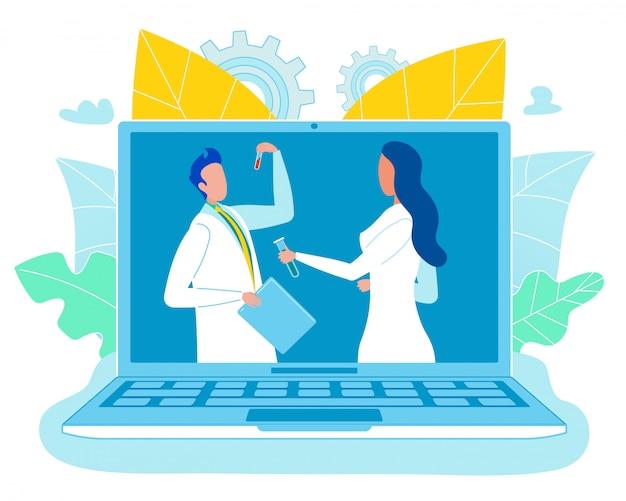 Laboratório inteligente on-line e pesquisadores no trabalho