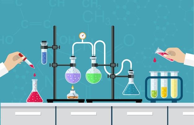 Laboratório médico. pesquisa, testes, estudos em química, física, biologia. equipamento de laboratório
