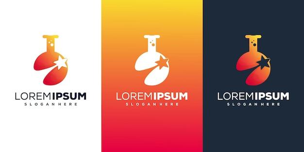 Laboratório moderno com design de logotipo de estrelas