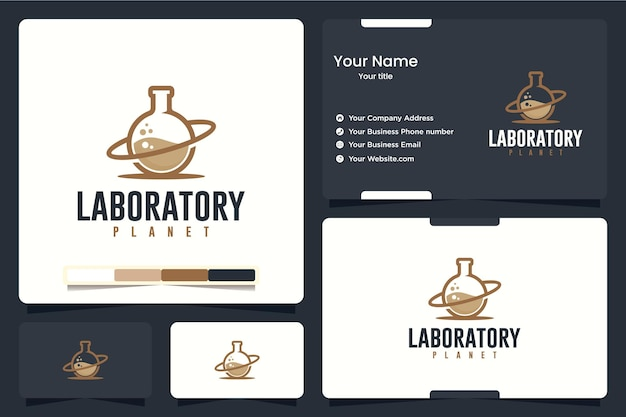Laboratório, planeta, inspiração de design de logotipo