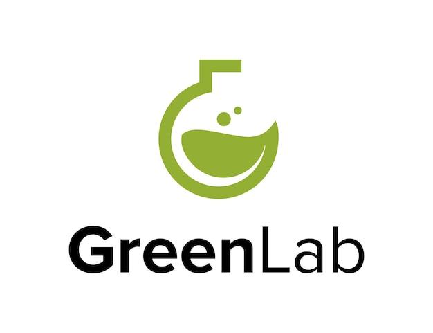 Laboratórios abstratos e folhas verdes, simples, criativo, geométrico, elegante, moderno, logotipo, design
