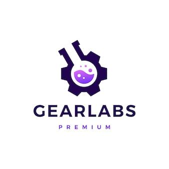 Laboratórios de engrenagens logo icon ilustração
