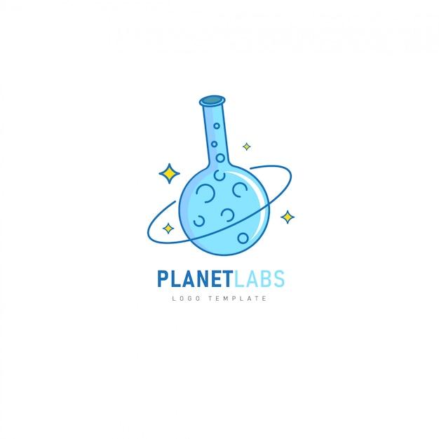 Laboratórios do planeta com design de tubo químico para farmacêutico, laboratório, logótipo químico