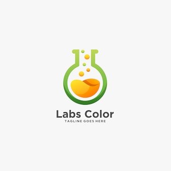 Labs color chemical research ilustração logotipo.