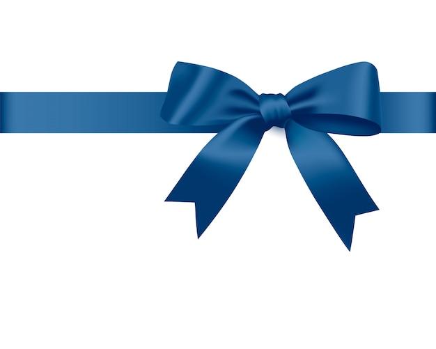 Laço azul e fita de cetim.