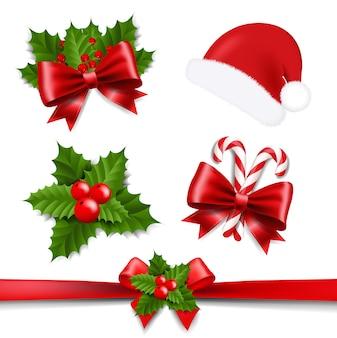 Laço de fita de natal e holly berry com fundo branco