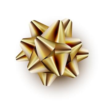 Laço de fita dourada embalando presentes de aniversário ou festa