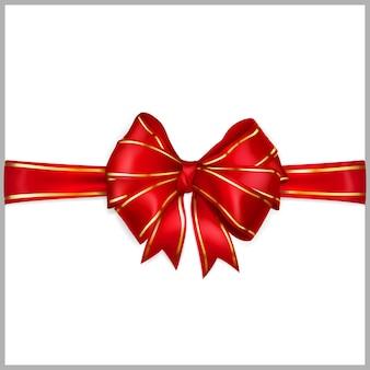 Laço de fita larga vermelha com fitas horizontais com tiras douradas