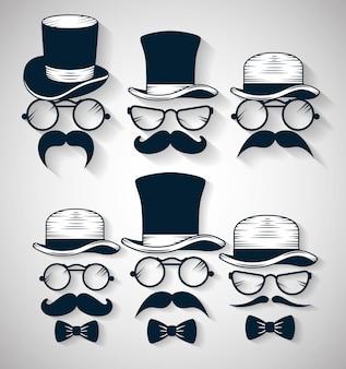 Laço de gravata com chapéu e óculos com conjunto de ilustração de bigode