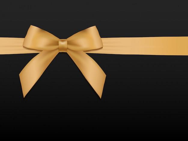 Laço de ouro com fitas. fita de cetim ouro feriado brilhante na ilustração de fundo preto.
