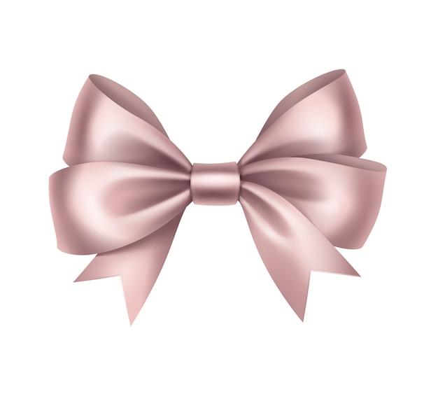 Laço de presente de cetim rosa claro brilhante isolado