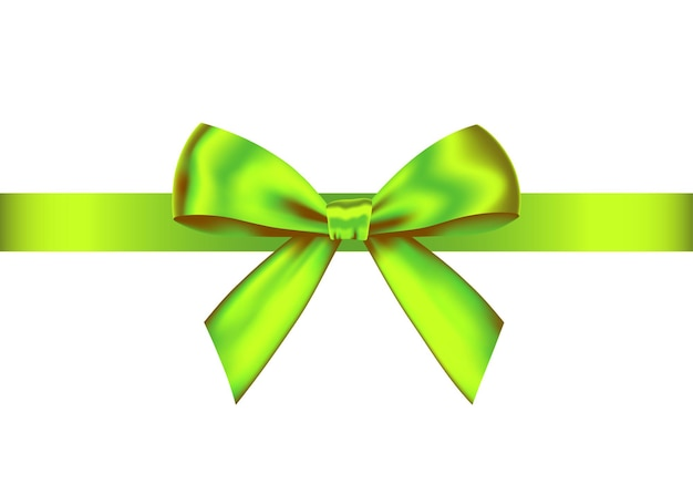Laço de presente realista verde com fita horizontal, isolado no fundo branco. elemento de design de férias vetor para banner, cartão, cartaz.