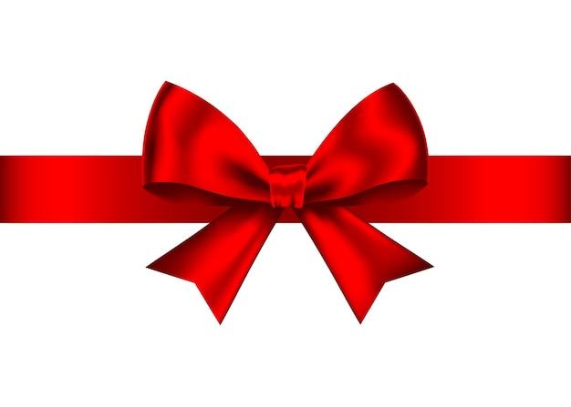 Laço de presente realista vermelho com fita horizontal, isolada no fundo branco.