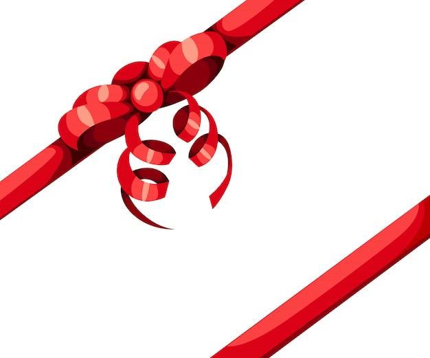Laço de presente vermelho e ilustração de duas fitas diagonais em fundo branco