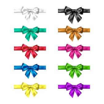 Laço de seda colorido cravejado de fitas. coleção de arcos elegantes em cores diferentes.