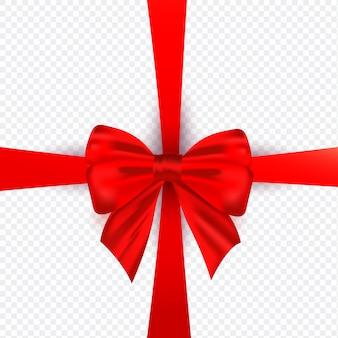 Laço de seda realista vermelho com fita para decoração de modelo de embrulho de presente em transparente