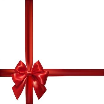 Laço de seda vermelho com fitas. elemento de design. ilustração vetorial
