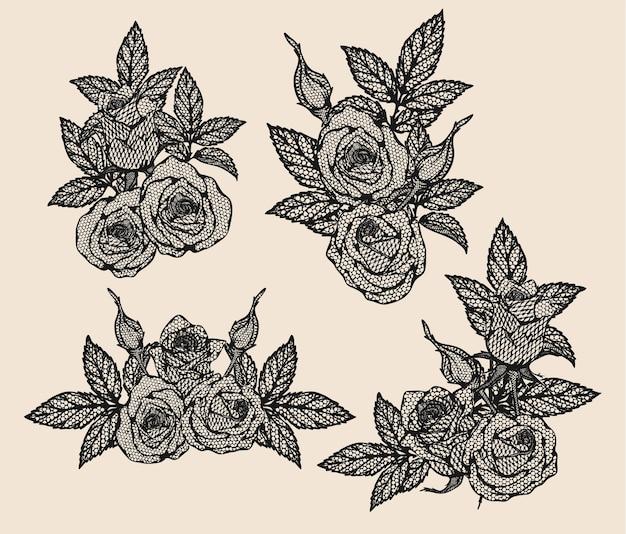 Laço de vetor rosa à mão de desenho