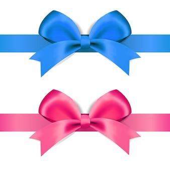 Laço decorativo azul e rosa em um fundo branco