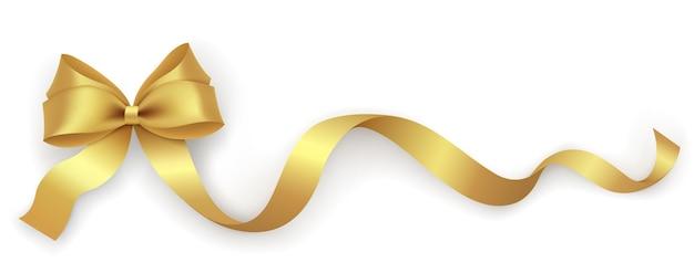 Laço decorativo de ouro com fita em um fundo branco. elemento de design de decoração de férias para embalagem, caixa de presente, cartão postal, banner.