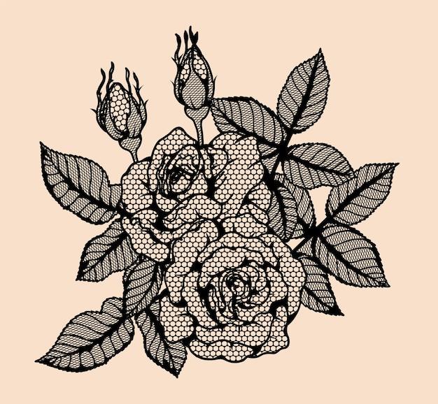 Laço do vetor de rosa à mão de desenho.