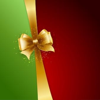 Laço dourado em fundo vermelho e verde