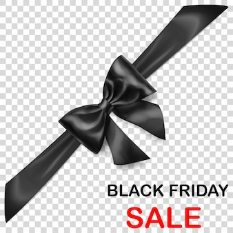 Laço preto com fita na diagonal com sombra e inscrição venda de sexta-feira negra em fundo transparente