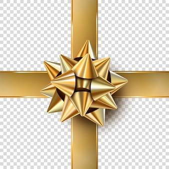 Laço realista de natal dourado para presente com fitas