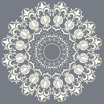 Laço redondo decorativo com elementos damasco e arabesco