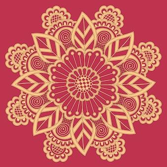 Laço redondo decorativo com elementos de damasco e arabesco.