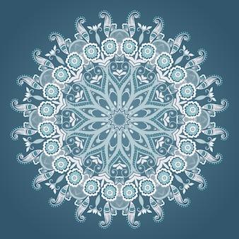 Laço redondo decorativo de vetor com elementos damasco e arabesco. estilo mehndi. oriente ornamento tradicional. ornamento floral colorido redondo de zentangle.
