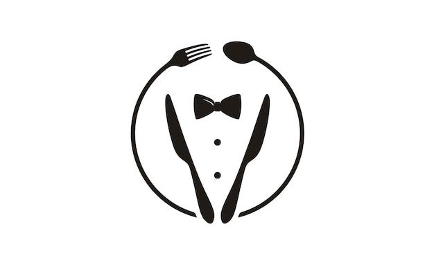 Laço, smoking, logotipo de restaurante de utensílio