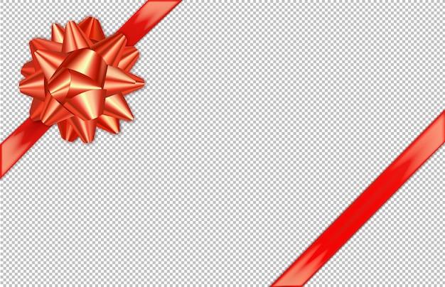 Laço vermelho diagonal e fita de seda.