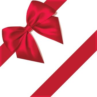 Laço vermelho feriado com fita de presente