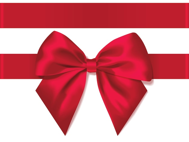 Laço vermelho feriado no presente de fundo branco