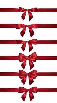 Laço vermelho realista com fitas vermelhas horizontais isoladas